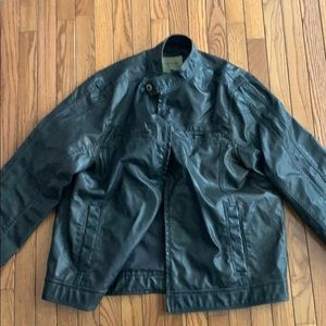 Motorcycle style faux leather jacket
